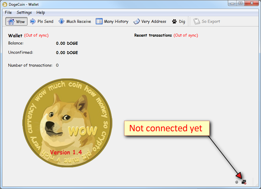 Dogecoin not connected yet